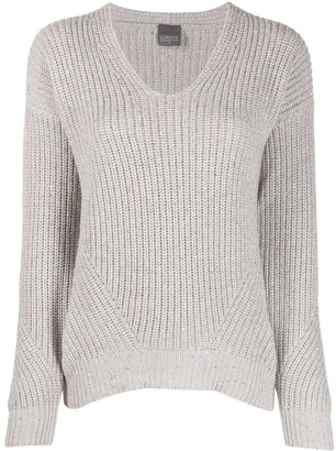 Lorena Antoniazzi Chunky-Knit V-Neck Jumper