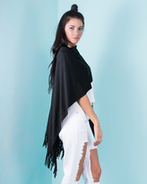 Missy Empire Esther Black Suede Tassel Cape