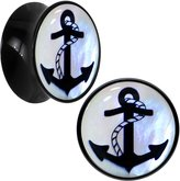 Body Candy Black Acrylic Anchor Mother of Pearl Inlay Saddle Plug Pair 7mm