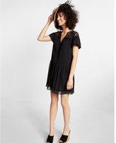 Express Short Sleeve Lace Yoke Tunic Dress