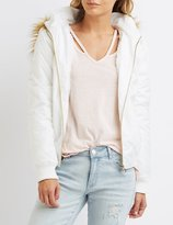 Charlotte Russe Faux Fur-Trim Hooded Bomber Jacket