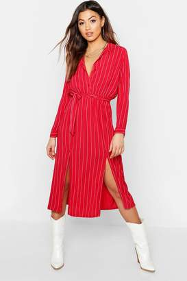 boohoo Woven Pinstripe Tie Belt Midi Skirt Dress