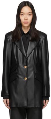 Nanushka Black Vegan Leather Cancun Blazer