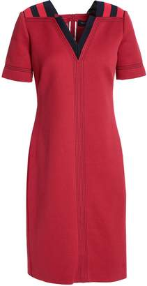 Piazza Sempione Intarsia-trimmed Cotton-blend Mini Dress
