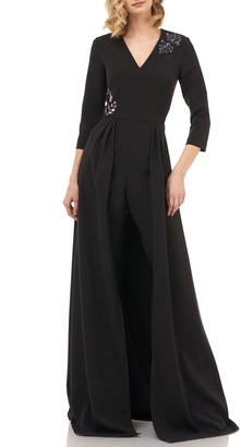 Kay Unger New York Margherita Stretch Crepe Walk Thru Jumpsuit w/ Art Deco Beading