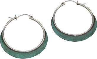 Accara Silver Oxidized Turquoise Hoops