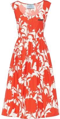 Prada carnation print poplin dress