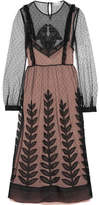 RED Valentino Embroidered Organza-trimmed Swiss-dot Tulle Midi Dress - Black
