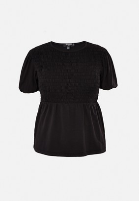 Missguided Plus Size Black Jersey Shirred Top