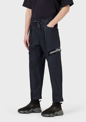 Emporio Armani Drawstring Denim Jeans With Pvc Details