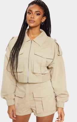 PrettyLittleThing Grey Military Style Cropped Jacket