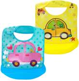 Dovewill 2 Pcs Baby Toddler Soft Waterproof Wipeable Washable Bib with Crumb Food Catcher