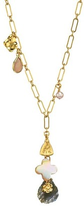 Chan Luu 18K Goldplated, 4-4.5MM Pearl Mixed Stone Charm Necklace