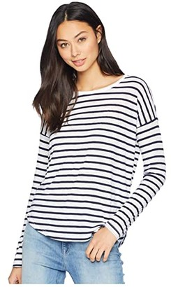 Splendid Zander Long Sleeve Cotton Modal Slub Striped Easy Crew Tee (Navy/Off-White) Women's T Shirt