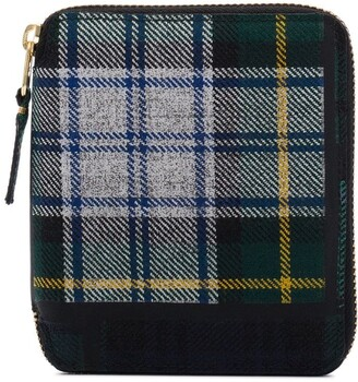 Comme des Garcons Green Tartan Print Zip Around Wallet