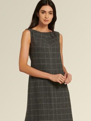 DKNY Donna Karan Women's Window Pane Check Sheath Dress - Charcoal/Cream - Size 16