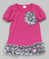 Tutus by Tutu AND Lulu Hot Pink & Black Ruffle Rosette Dress - Kids & Tween