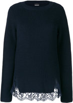 Ermanno Scervino lace trimmed ribbed sweater
