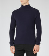 Reiss Reiss Tribal - Ribbed-knit Roll-neck Jumper In Blue, Mens