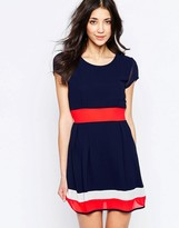 Wal G Skater Dress With Contrast Bands