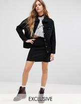 Reclaimed Vintage Inspired Denim Mini Skirt With Frill Detail Co-Ord