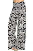 L4U Women's New Grey & white Aztec Diamond Vertical Chevron Palazzo Pants