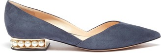 Nicholas Kirkwood ''Casati' faux pearl heel suede d'Orsay flats
