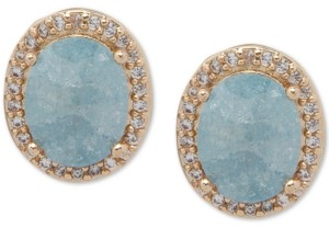 lonna & lilly Gold-Tone Pave & Stone Oval Stud Earrings