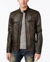 Lucky Brand Men's Café Racer Leather Moto Bomber Jacket