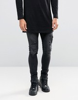 Asos Extreme Super Skinny Jeans With Rips And Faux Leather Backing