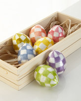 Mackenzie Childs MacKenzie-Childs Pastel Check Eggs in Crate, Set of 7