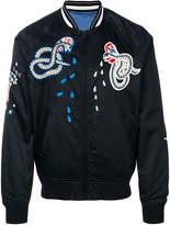 Diesel snake embroidered bomber jacket