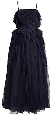 BCBGMAXAZRIA Women's Eve Swarovski Crystal Embellished Tea-Length Dress
