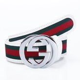 Uneedk Men's 38-mm GG Buckle Italy Leather Belt Green/Red/Green (/45.3inch, Black )