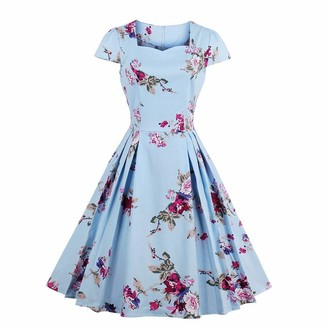 QUINTRA Women's Summer Large Size Casual Loose Natural Short Sleeve Flower Print Vintage Fit and Flare Mid-Calf Dress Blue