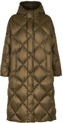 Stand Studio Farrah dark olive quilted shell coat