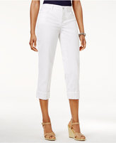 JM Collection Petite Embellished-Cuff Capri Jeans, Created for Macy's