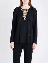 Altuzarra Aminta lace-up silk-blend top