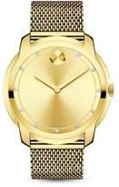 Movado Bold Diamond & Goldtone Stainless Steel Mesh Bracelet Watch