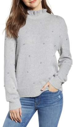 Hinge Embellished Ruffle Neck Sweater