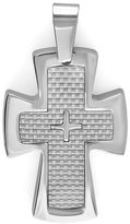 Ice Stainless Steel White Carbon Fiber Inlay Men's Cross Pendant