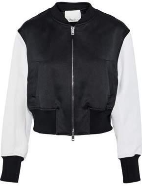 3.1 Phillip Lim Romantic Cropped Cady-paneled Satin-jacquard Bomber Jacket