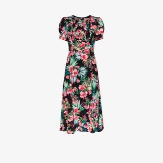 Les Rêveries Hibiscus Print Smocked Silk Midi Dress