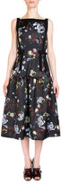 Erdem Adelle Sleeveless Floral-Print Sundress, Black/Multi