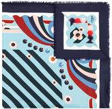 Fendi floral print scarf - women - Silk/Mink Fur/Wool - One Size
