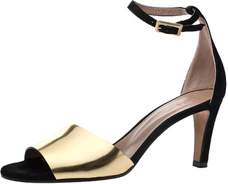 Chloé Metallic Gold Leather and Suede Ankle Strap Sandals Size 39