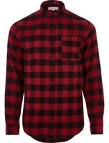 River Island MensRed casual check flannel shirt