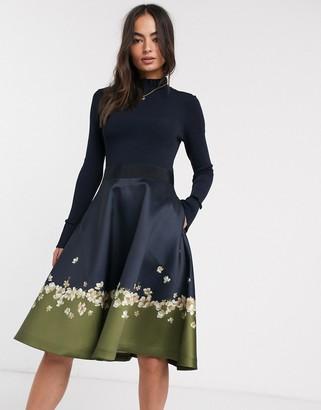 Ted Baker Lotis pearl printed full skirted midi dress