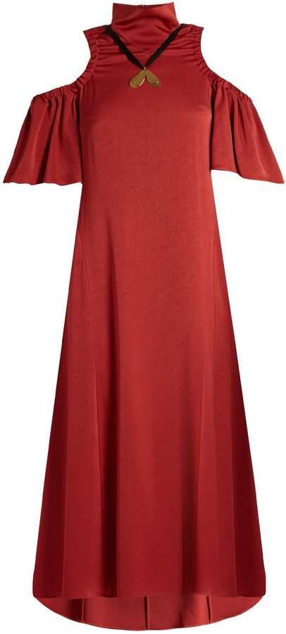 Ellery Deity cut-out shoulder matte-satin dress