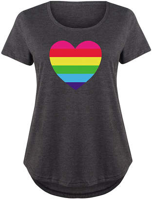 Instant Message Plus Women's Tee Shirts HEATHER - Heather Charcoal Rainbow Heart Scoop Neck Tee - Plus